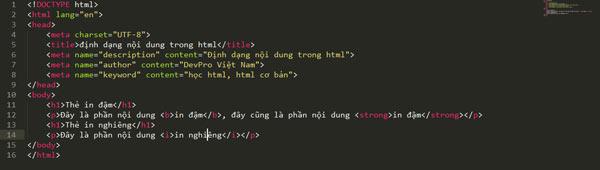 Định dạng trong HTML