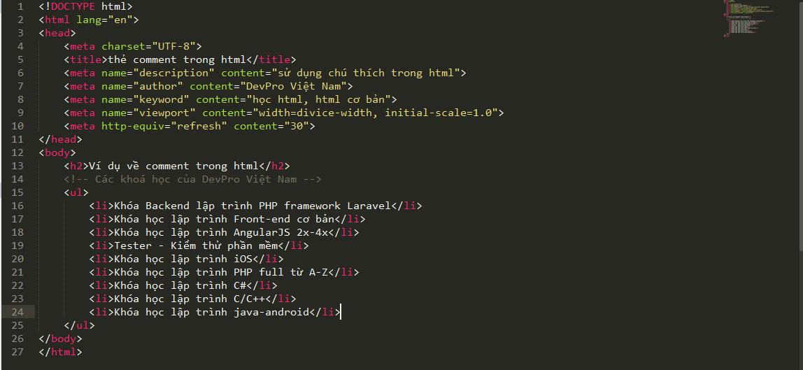 Sử dụng comment chú thích code trong HTML